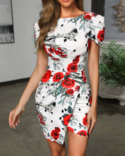 Floral Puff Sleeve Backless Dress