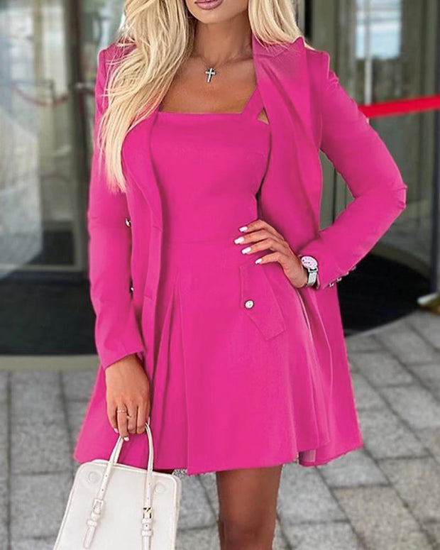 Solid Long Sleeve Double-breasted Suit Wok Dress