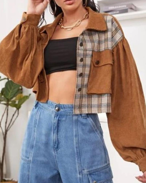 Plaid Patchwork Long Sleeve Cropped Coats