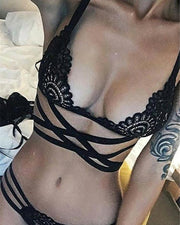 Black Lace Detail Criss-cross Lingerie Bra Set