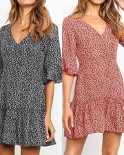 Floral V Neck Bell Sleeve Ruffle Dress