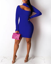 Asymmetrical Cut Out Solid Ribbed Bodycon Dress