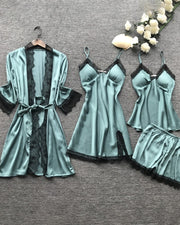 V-neck Lace Trim Satin 4PCS Sleepwear Set