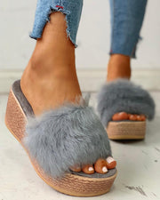 Fluffy Platform Wedge Heeled Sandals