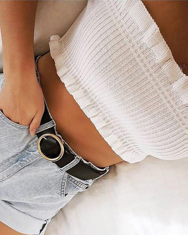 Solid Sleeveless Skinny Knitted Tube Cropped Tops