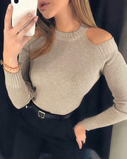 Solid Cold Shoulder Ribbed Knitting Sweater