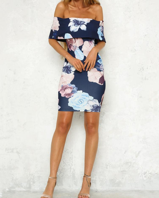 Floral Off Shoulder Bodycon Dress