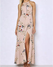 Elegant Backless Halter Long Slit Floral Maxi Dress