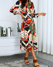 Mixed Print Long Sleeve Shirt Dress
