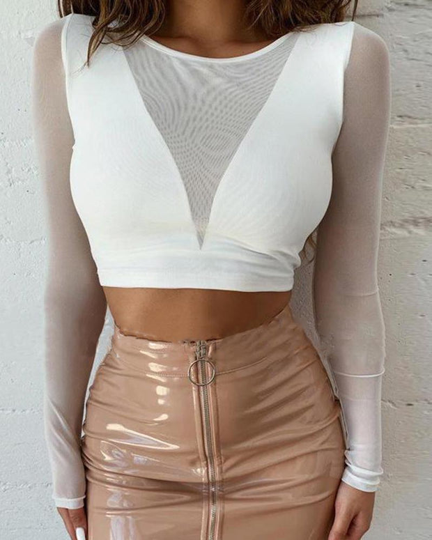 Boat Neck Mesh Crop Top