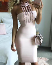 Stud Detail Choker Party Bodycon Dress
