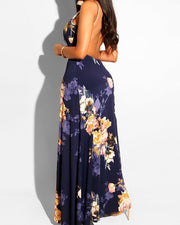 Floral Print Deep V-neck Romper Maxi Dress