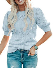 Solid Bubble Sleeve Loose Cut-out Blouse