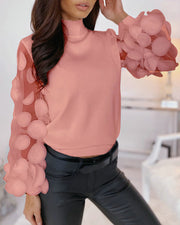 Mesh Puffed Sleeve Floral Blouse