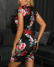 Floral Print Short Sleeve Knotted Bodycon Dress