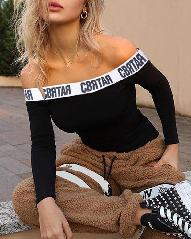 Off Shoulder Letter Trim Bodysuit