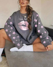 Mouth And Star Printing Long Sleeve Sweatshirt