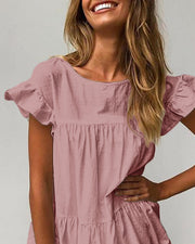 Round Neck Ruffles Ruched Casual Dress