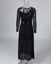 V-neck Lace Bodice Pleated Dress