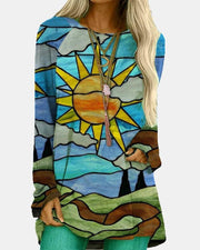 Painting Print Long Sleeve Loose Sweater