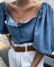 Solid Bubble Sleeve Cropped Denim Blouse