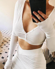 V Neck Button Front Crop Top