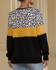 Round Neck Leopard Colorblock Sweatshirt