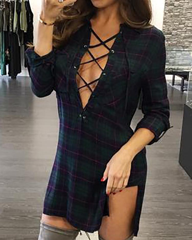 Plaid Lace-Up Side Slit Shirt Dress