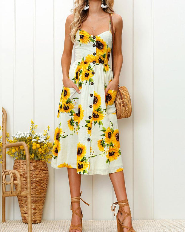 Sunflower Pattern Sweet Midi Dress