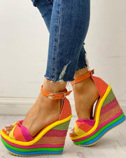 Colorful Espadrille Muffin Wedge Sandals
