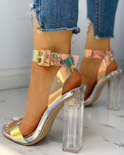 Ankle Buckled Transparent Chunky Heeled Sandals