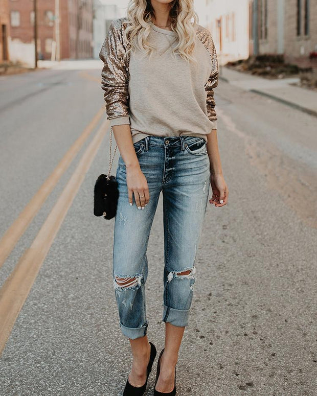 Sequins Shoulder Patchwork Sweatshirt
