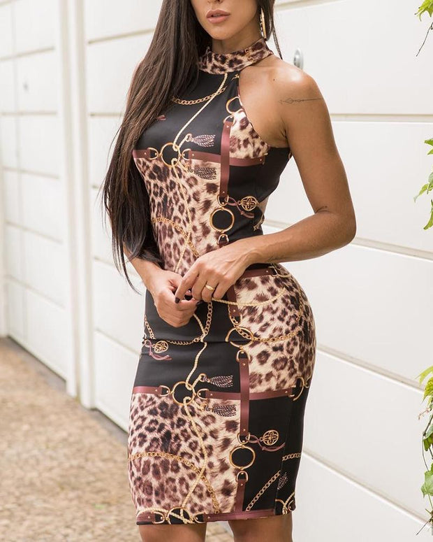 Chain Leopard Print Backless Bodycon Dress