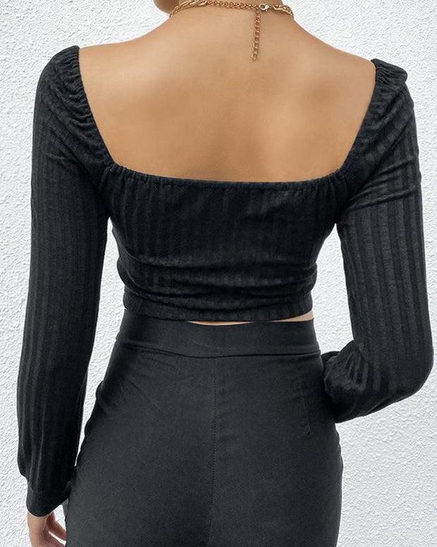 Square Neck Tie Front Crop Top