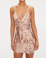 Deep V See Through Sequin Party Dress