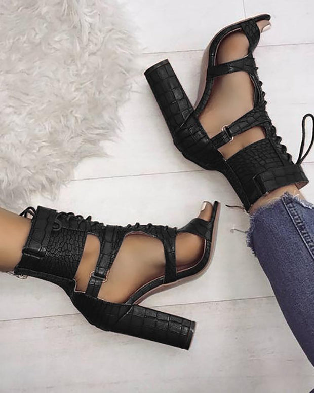 Lace-up Cutout Chunky Heel Sandals
