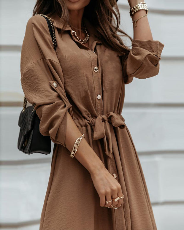 Solid Color Lace-up Long Sleeve Dress