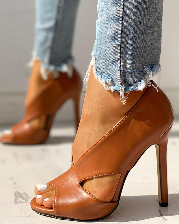 Solid Peep Toe Cut Out PU Thin Heels