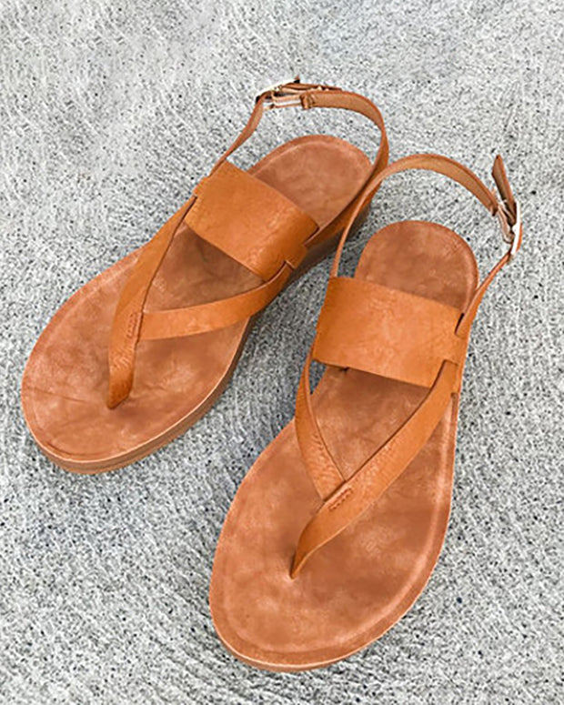 Toe Post Adjustable Buckle Flat Sandals