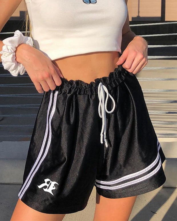 Letter Embroidery Drawstring Shorts