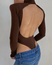 Solid Color Backless Long Sleeve Blouse