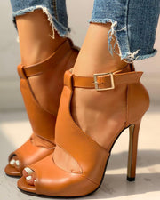 Solid Peep Toe Ankle-buckled PU Thin Heeled Sandals