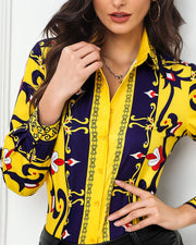 Baroque Print Button-Up Shirt