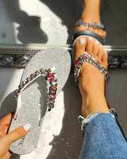 Studded Toe Post Flat Slipper Sandals