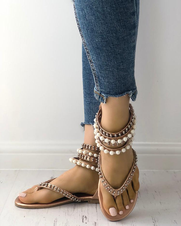 Stylish Beading Embellished Ankle Strap Flip-flop Sandals