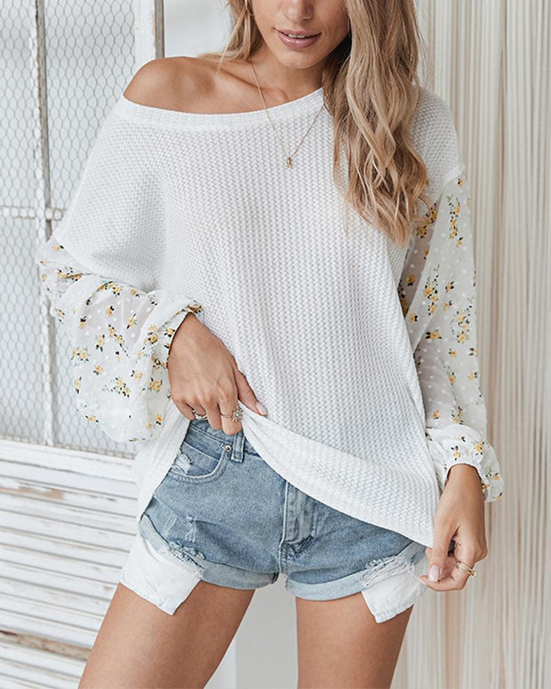 Colorblock Splicing Long Sleeve Loose Blouse