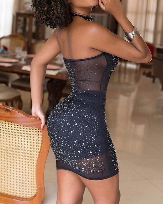Shiny Hot Stamping Mesh Halter Mini Dress
