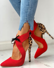 Pointed Toe Leopard Thin Heels
