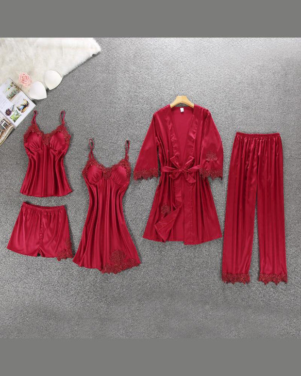 Satin Cami Set & Robe 5- Piece