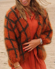 Plaid Long Sleeve Loose Cardigans